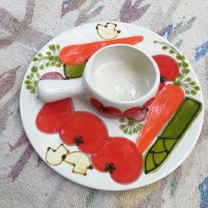 Vintage ceramic veggie chip dip platter dish bowl